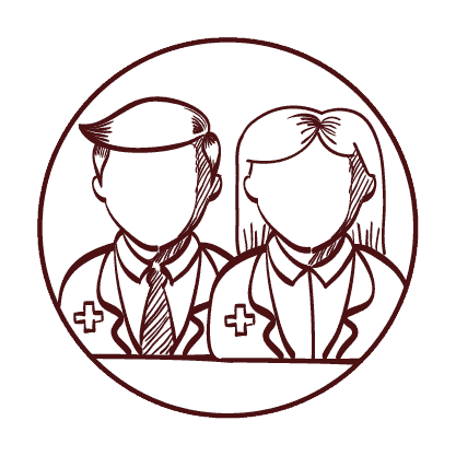 Mayfield Medical Connection GP image Drawing of female and male doctors. Medical Centre, Newcastle Doctors, GP Newcastle.