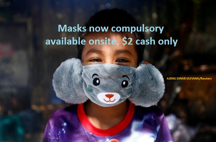 Masks Are Now Compulsory - Available For $2 Onsite, Cash Only